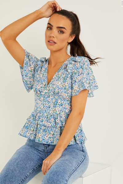 Blue Floral Frill Top